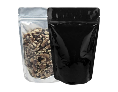8 Oz Vista/Clear Front Black Foil Back Stand Up Pouch (500/case) - $0.173/pc