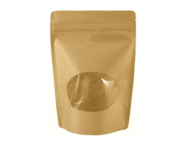 8 Oz Kraft Paper/Windowed Stand Up Pouch (500/case) - $0.229/pc