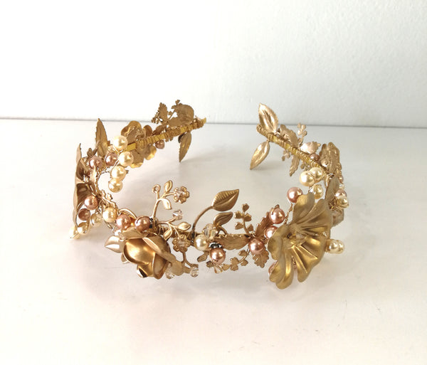 Rosaleen Gold Flower Tiara/Headband