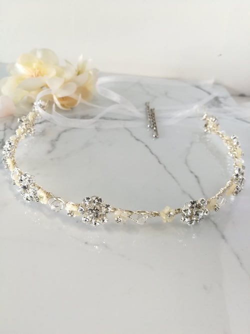 Eira Crystal and Pearl Headband