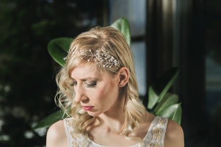 Giselle Crystal and Pearl Ribbon Headband