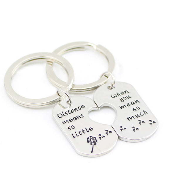 Long Distance Relationship Key Chain (or Necklace)