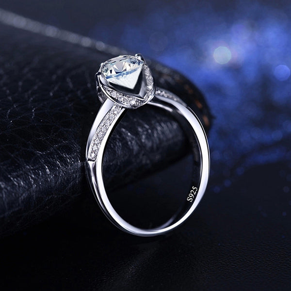 Sterling Silver Diamond April Birthstone Ring