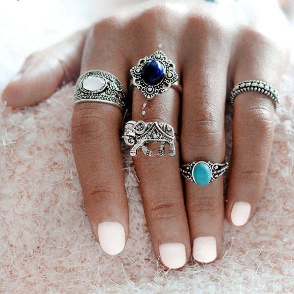 Bohemian 5 pc Ring Set