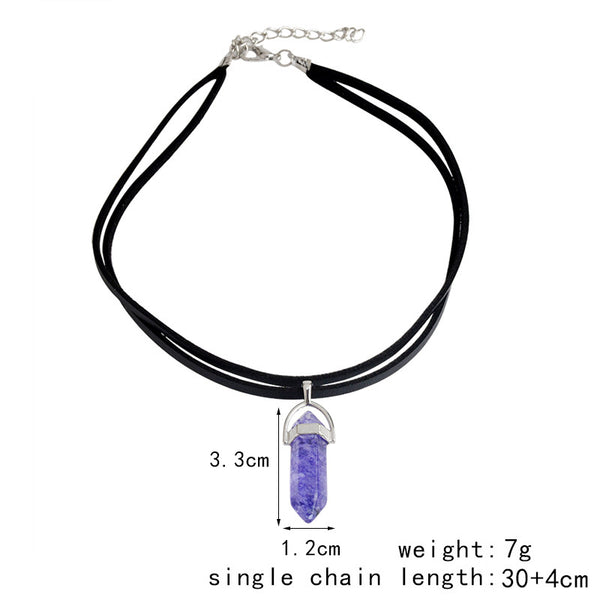 Hexagonal Quartz Crystal Double Choker Necklace