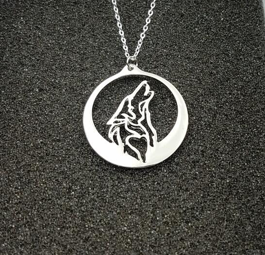 """Howling At The Moon"" Wolf Pendant Necklace"
