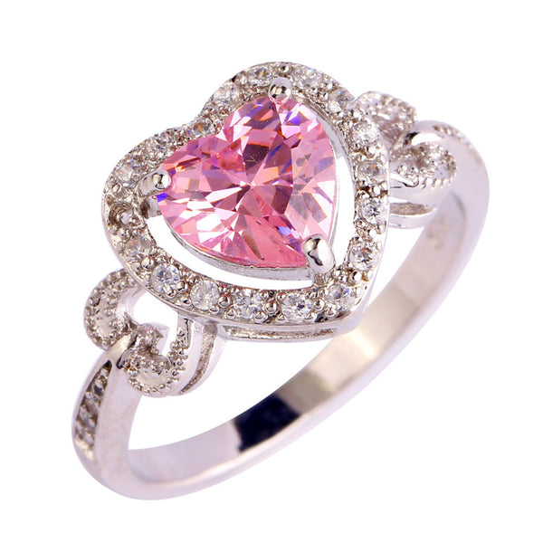 Pink And White Topaz Heart Ring