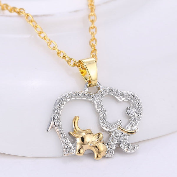 Elephant Baby And Mother Necklace