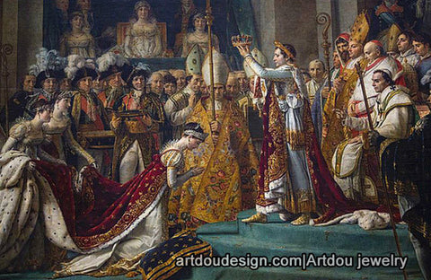 Coronation of Napoleon oil painting with pearl jewelry