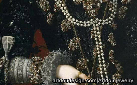 oil painting with pearl jewelry