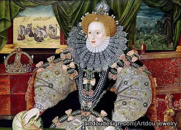 Queen Elizabeth I  oil painting with pearl jewelry