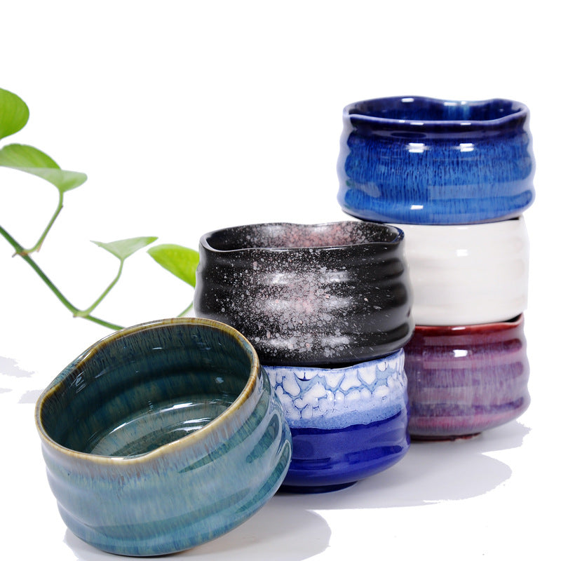 Matcha Bowl Glazed Green Tea Chawan for Japanese Tea Ceremony (Blue&White)