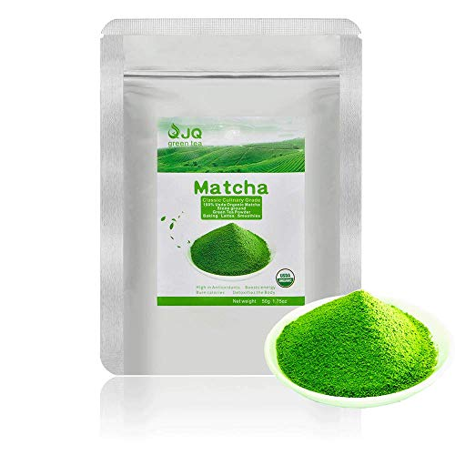 JQ Matcha Green Tea Powder 1.75 OZ 50 g Small Package Classic Culinary Grade USDA 100 Pure Organic No Sugar to Drink Beverage Aromatic Tasty