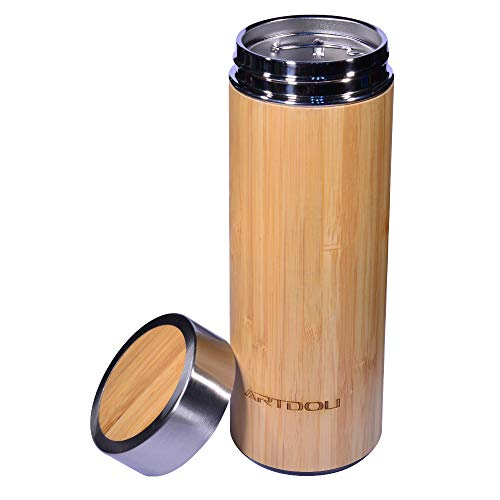 ARTDOU Gold Bamboo Tumbler with Tea Infuser 14 oz Vacuum Insulated Travel Bottle 304 18/8 Stainless Steel Infuser for Loose Leaf Tea, Coffee Mug , Fruit Cold & Hot Water Leak Proof-BPA Free Nontoxic