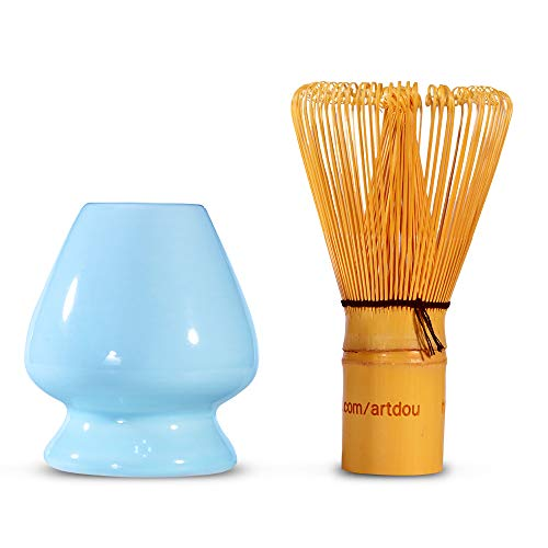 Bamboo Matcha Whisk Holder Chasen Stand Porcelain (Blue)