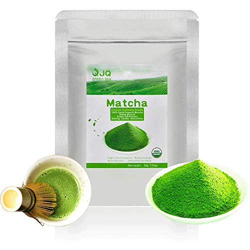 JQ Matcha Powder Green Tea 1.75 OZ 50 g Ceremonial Grade Organic Mocha Matcha Green Tea Powder USDA Latte No Sugar