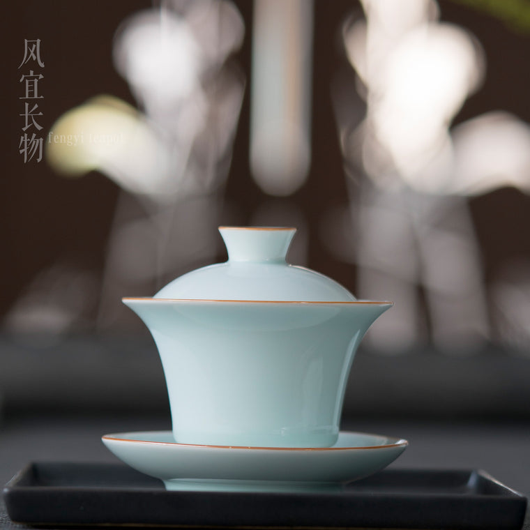 Chinese Gaiwan Traditional  Ceramic Kung Fu Tea Cup with Elegant Gold Trims  4.06 Ounce (cyan )