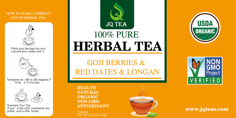 Red dates - Goji Berries -Dried Longan - Fruity Herbal Loose Leaf Tea - Hot or Iced - Vitamin and Antioxidant Rich - Caffeine Free - All Natural - 120g (4.23-ounce) 15Bags