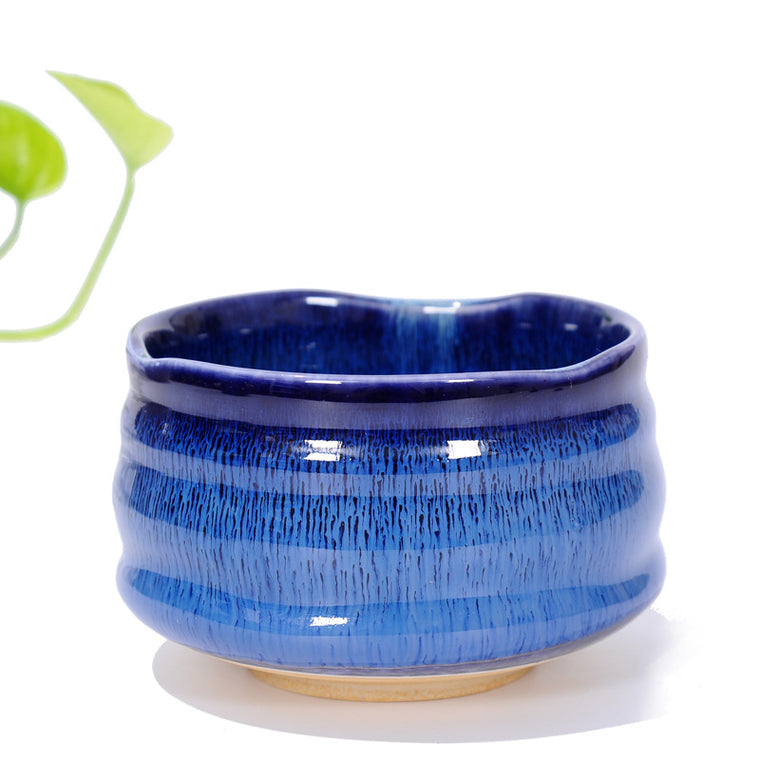 Matcha Bowl Glazed Green Tea Chawan for Japanese Tea Ceremony (Navy Blue)