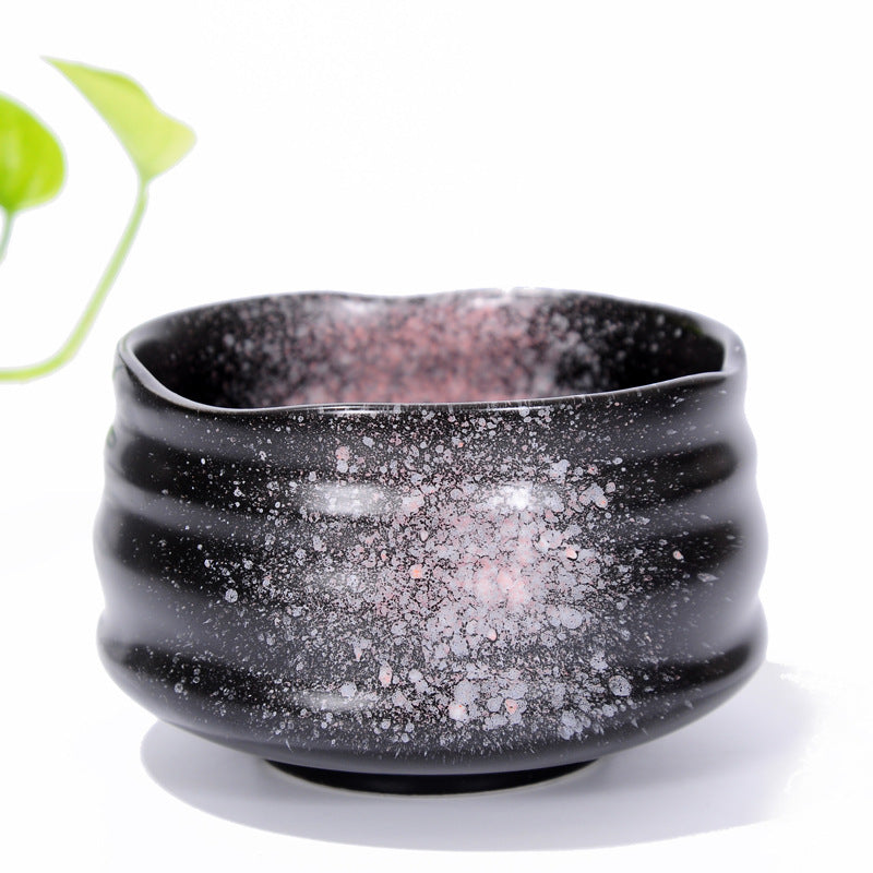Matcha Bowl Glazed Green Tea Chawan for Japanese Tea Ceremony (Black&Pink)