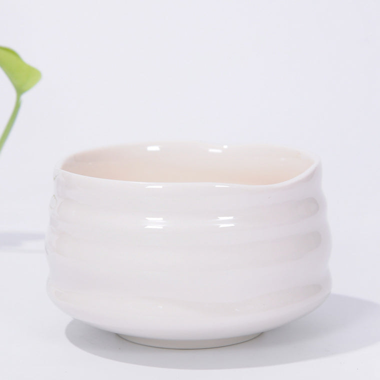 Matcha Bowl Glazed Green Tea Chawan for Japanese Tea Ceremony (White)