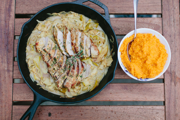 Pork Tenderloin over Mashed Sweet Potatoes