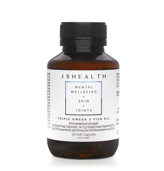 JSHEALTH Triple Strength Omega Fish Oils Mental Wellbeing +Skin+ Joints 60 Capsules- I AM ON MY WAY