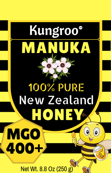 Kungroo Manuka Honey New Zealand - MGO 400+ Healing Benefits For Wound, Cough, Cold, Sore Throat Treatment, Eczema, Arthritis Pain Relief, 8.8 Oz