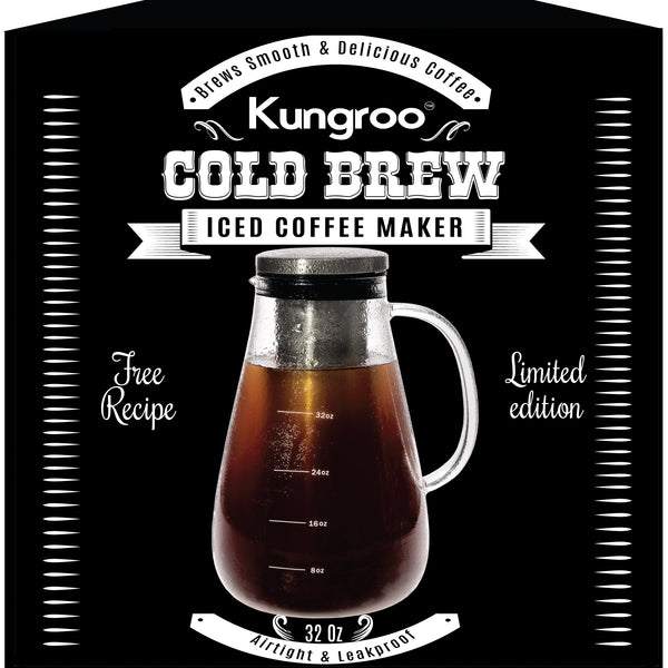 Kungroo Glass Cold Brew Iced Coffee Maker Airtight Pitcher Carafe Pot, 32oz