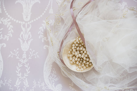 Unique bridal lace and golden beads