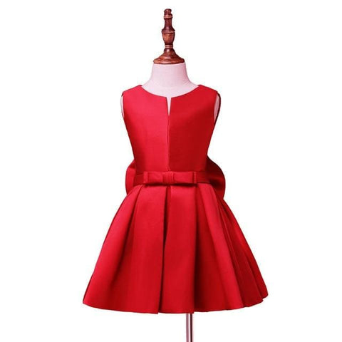 Flower Girl Cute Bow A-line Satin Dress - NO 7 red / Child-2