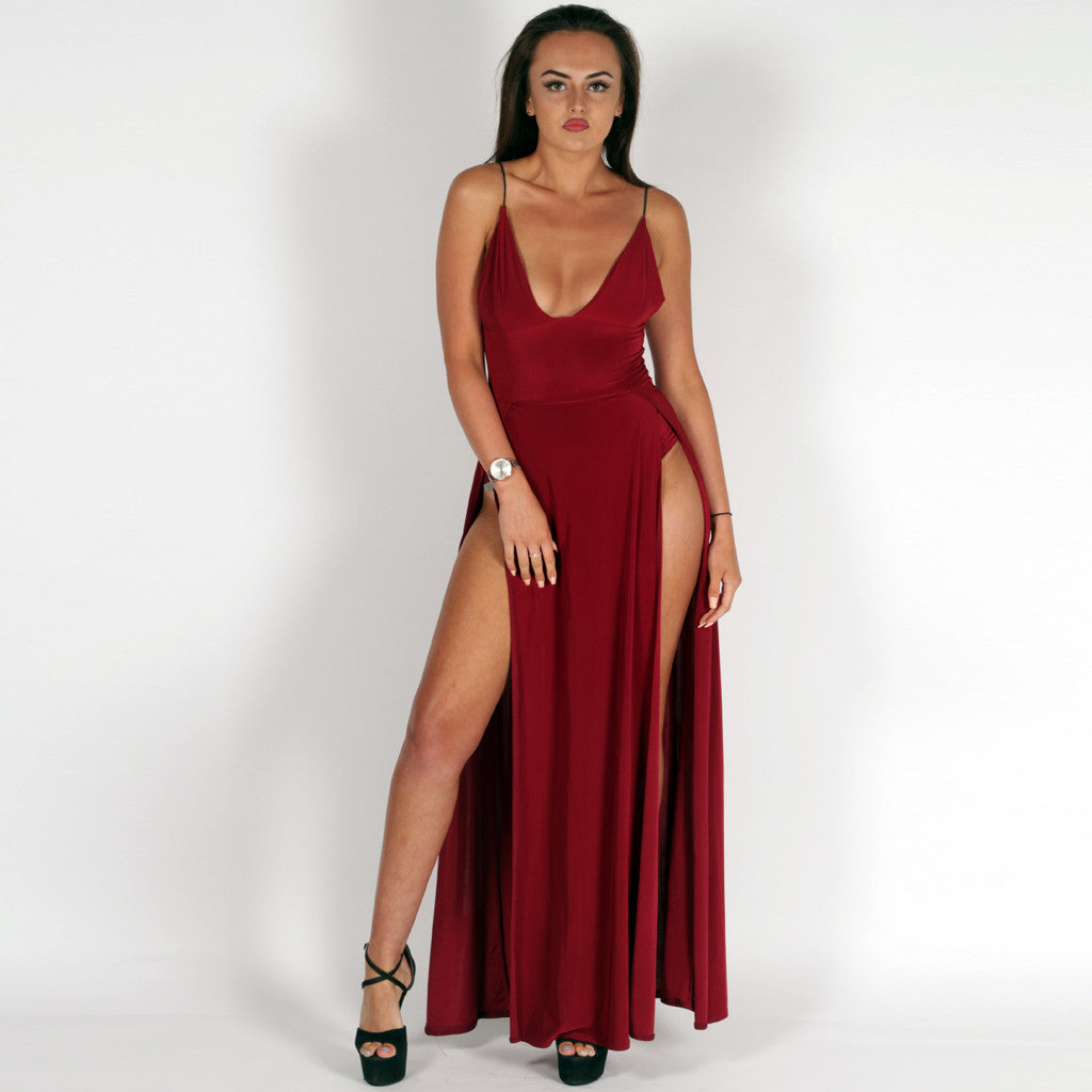 Night In Paris Wine Red Slinky Double Split Maxi Dress Styledup