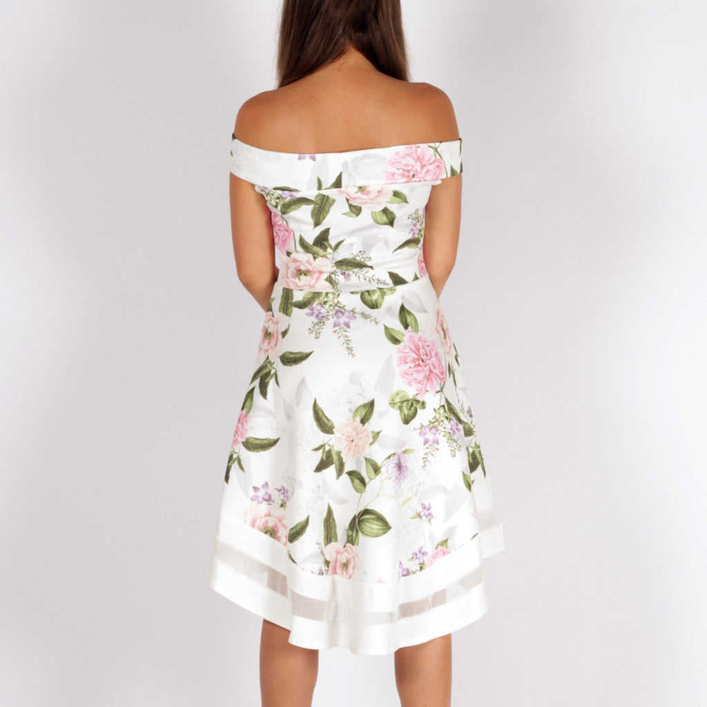 f0ed44e684 Floral Bardot Off Shoulder Skater Dress White – Styledup.co.uk