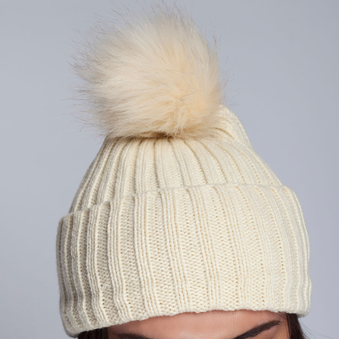 Rib Beanie With Faux Fur Pom Pom