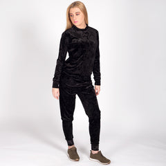 Velour Velvet Loungewear Set Tracksuit Black