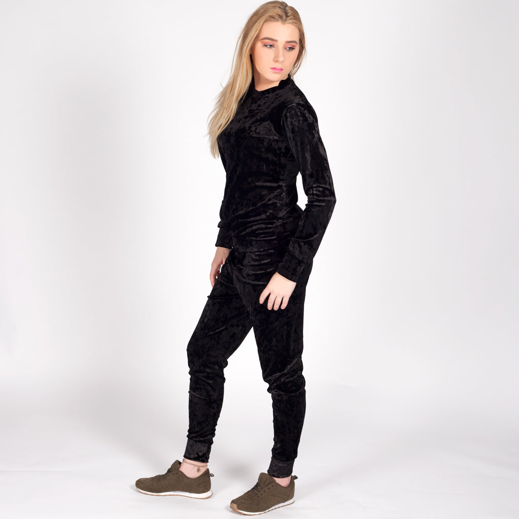 Black Velour Velvet Loungewear Set Tracksuit