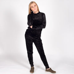 Velvet Tracksuit Black Womens Ladies Styledup