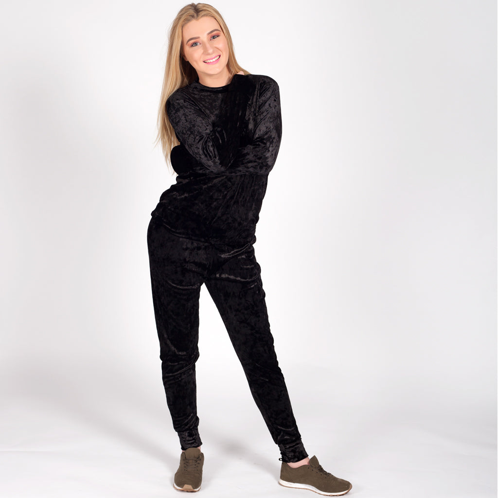 Womens Black Velour Velvet Loungewear Set Tracksuit