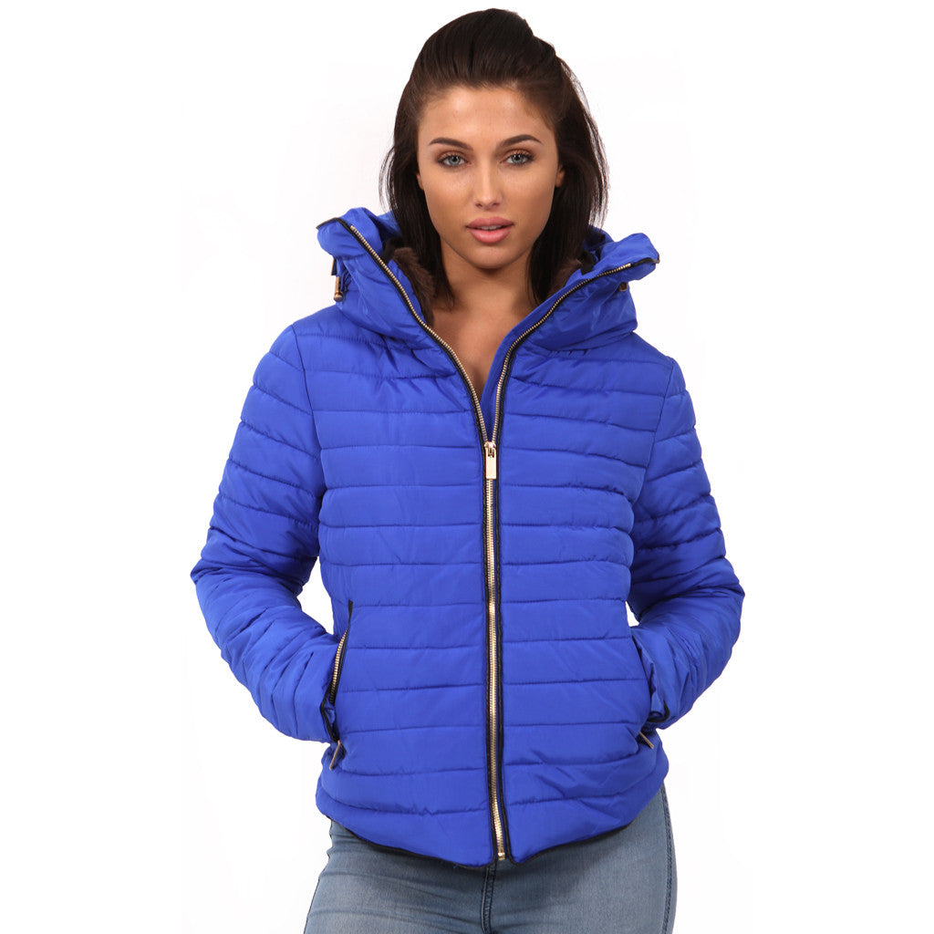 Blue Bubble Padded Ladies Girls Zara Coat Parka Jacket Blue Styledup