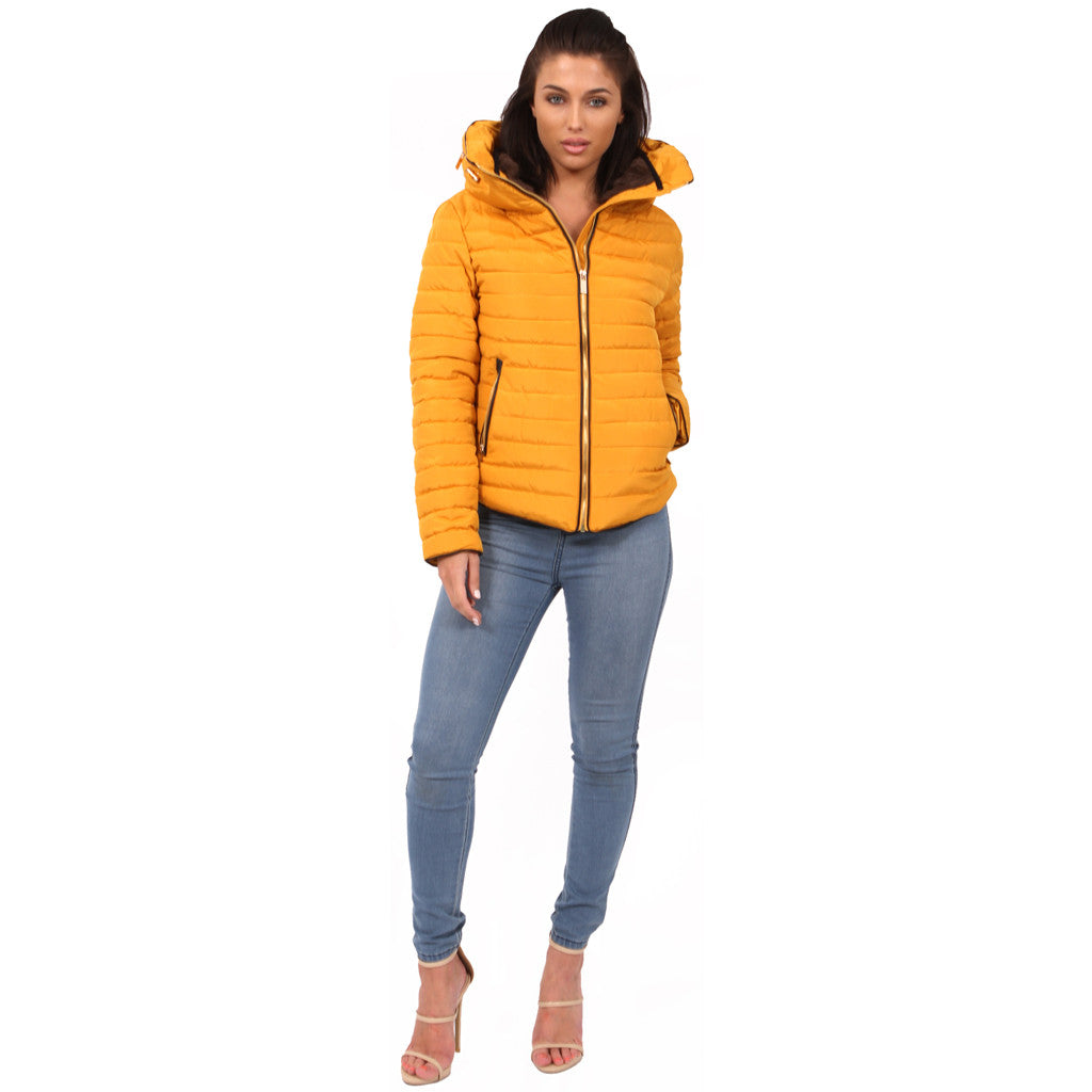 Mustard Bubble Padded Wniter Ladies Girls Zara Coat Parka Jacket Styledup