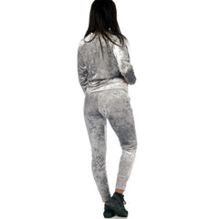 Silver Crushed Velvet Loung Wear Set Styledup