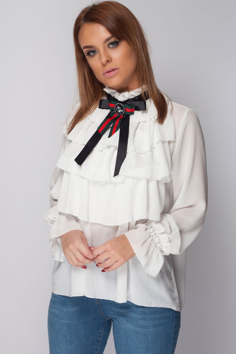 382af344a58db Womens Gucci Inspired Frill Blouse – Styledup.co.uk