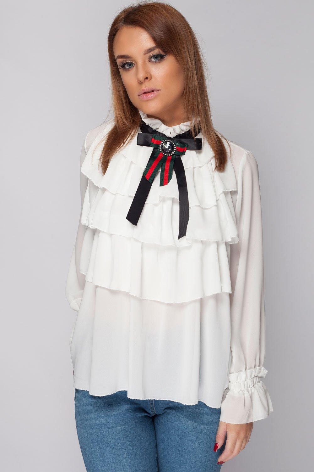 9d696a8d5f7ded Womens Gucci Inspired Frill Blouse – Styledup.co.uk
