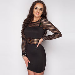 Fish Net Long Sleeve Black dress
