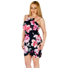 Floral Bodycon Mini Black Dress Styledup