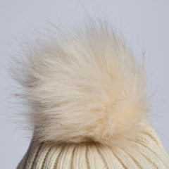 RACCOON Faux FUR POM POM Beanie CABLE KNIT BOBBLE HAT