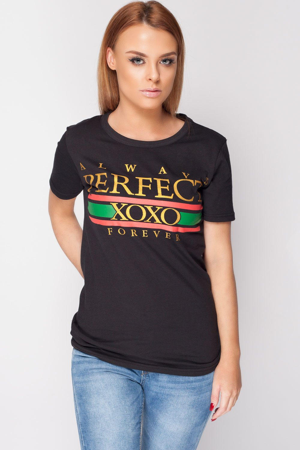 black perfect slogan t shirt