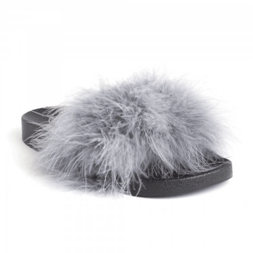 Grey Feather Faux Fur Detail Slider Megan McKenna Statement Styledup