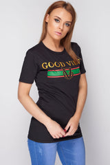 Good Vibes Top Black