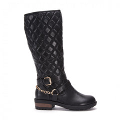 Women,s Black Flat Quilted Boots With Chain And Buckle Detail